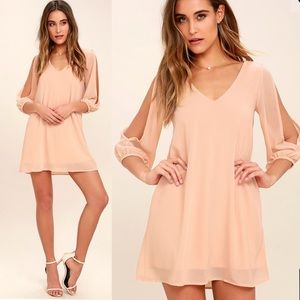 LULU'S Shifting Dears Blush Pink Long Sleeve Dress